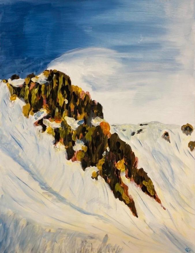 artigall: Fels im Schnee Gemälde Gion Battesta Huonder
